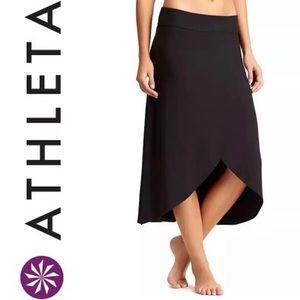 ATHLETA black high low wrap jersey RIBBON SKIRT XS